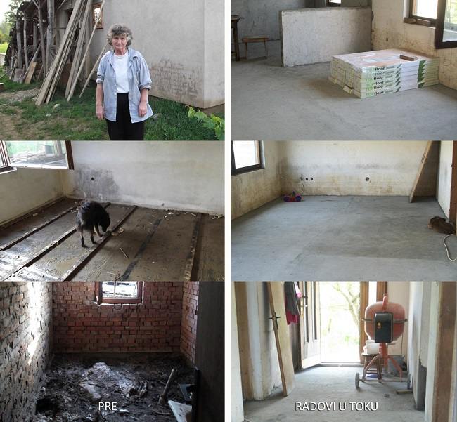 Foundation Ana and Vlade Divac and UniCredit bank Slovenia helping a single mother from Mionica, Valjevo  to rebuild her house damaged by the floods